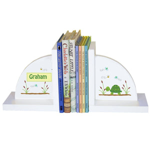 Personalized White Bookends with Turtle design