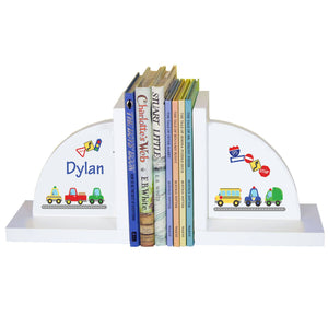 Personalized White Bookends with Cars and Trucks design