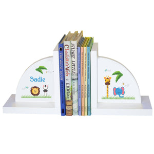 Personalized White Bookends with Jungle Animals Boy design