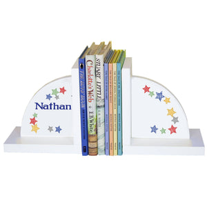 Personalized White Bookends with Stitched Stars design