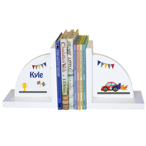 Personalized White Bookends with Race Cars design