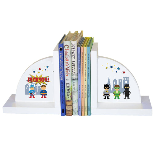 Personalized White Bookends with Superhero design