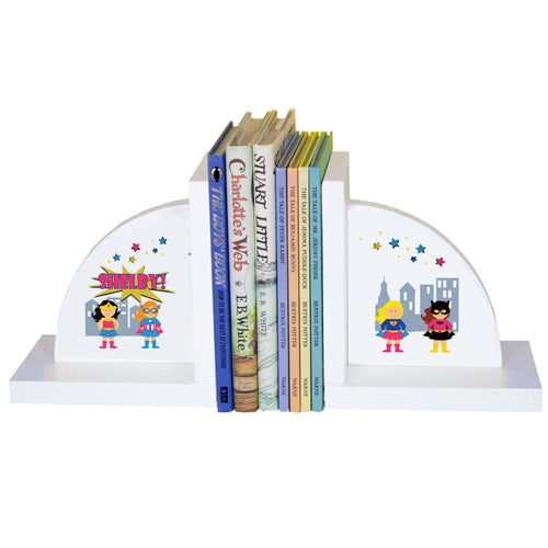 Personalized White Bookends with Super Girls design