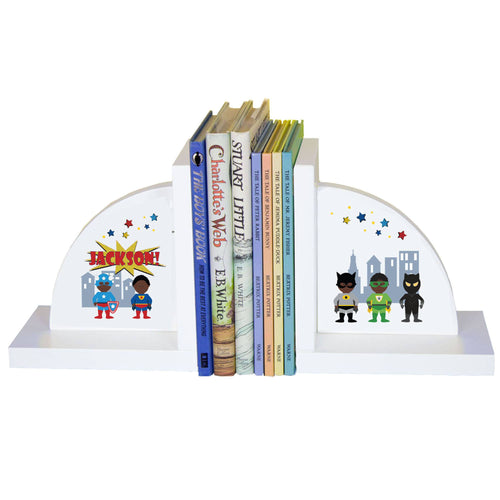 Personalized White Bookends with Superhero African American Boy design