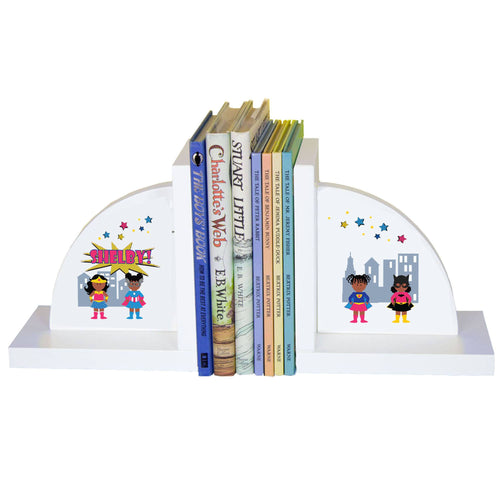 Personalized White Bookends with Super Girl African American design