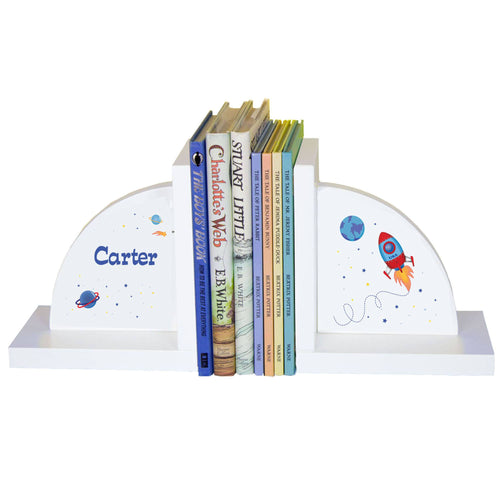 Personalized White Bookends with Rocket design