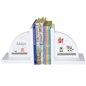 Personalized White Bookends with Barnyard Friends Pastel design