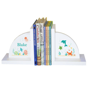 Personalized White Bookends with Sea and Marine design