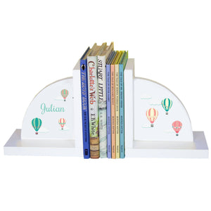Personalized White Bookends with Hot Air Balloon design