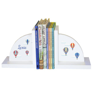 Personalized White Bookends with Hot Air Balloon Primary design