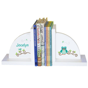 Personalized White Bookends with Blue Gingham Owl design