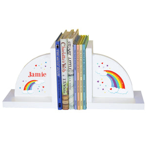 Personalized White Bookends with Rainbow design