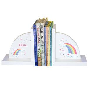 Personalized White Bookends with Rainbow Pastel design