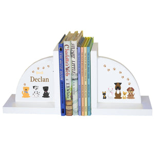 Personalized White Bookends with Brown Dogs design
