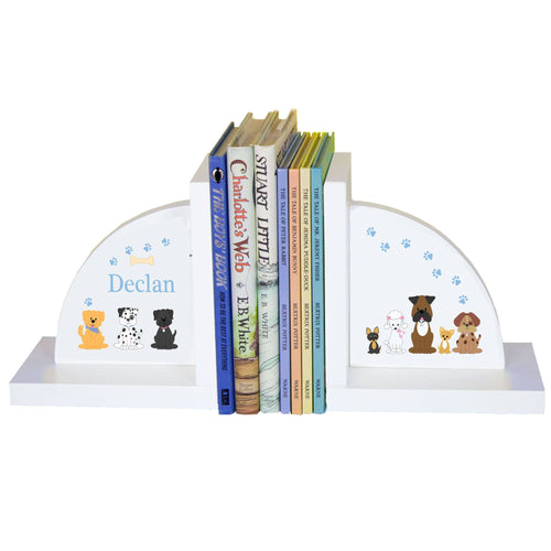 Personalized White Bookends with Blue Dogs design