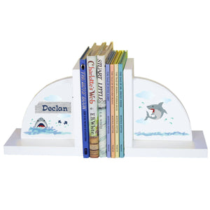 Personalized White Bookends with Shark Tank design
