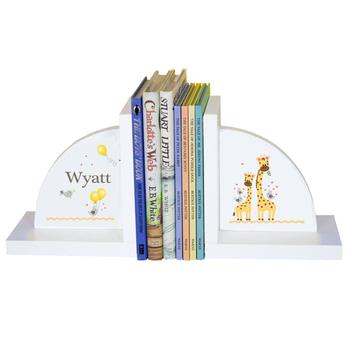 Personalized White Bookends with Giraffe design