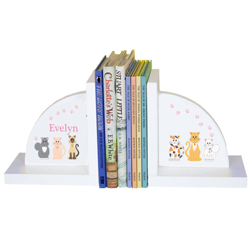 Personalized White Bookends with Pink Cats design