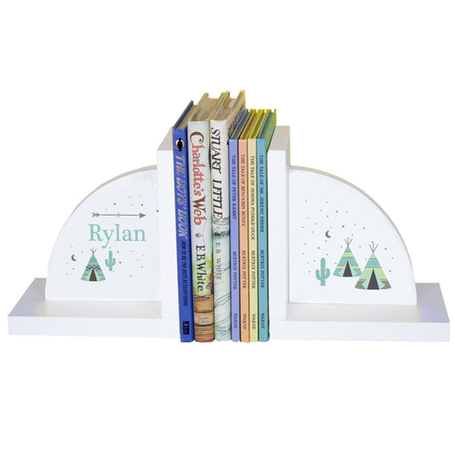 Personalized White Bookends with Arrows Gold and Grey design