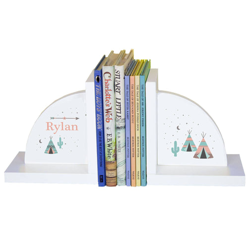 Personalized White Bookends with Teepee Aqua Mint design