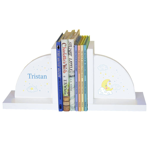 Personalized White Bookends with Moon and Stars design