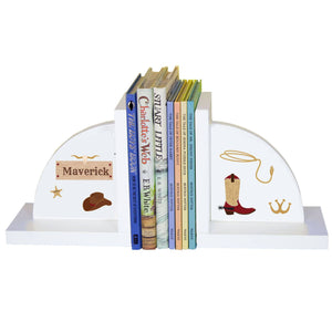 Personalized White Bookends with Wild West design