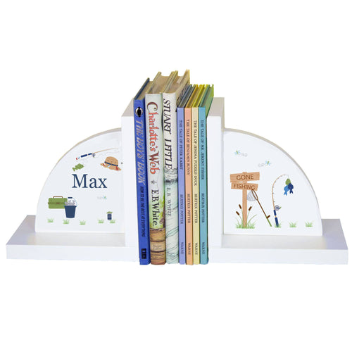 Personalized White Bookends with Gone Fishing design