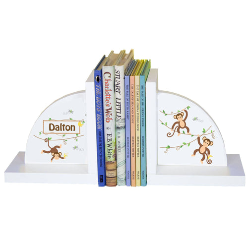Personalized White Bookends with Monkey Boy design