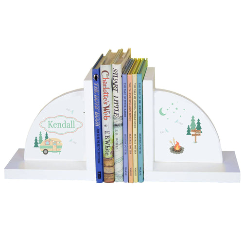 Personalized White Bookends with Camp Smores design