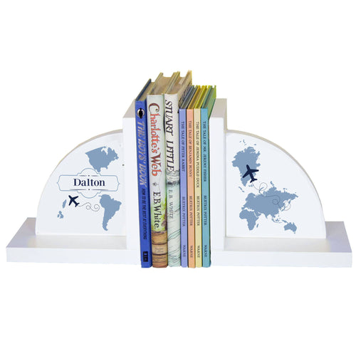 Personalized White Bookends with World Map Blue design