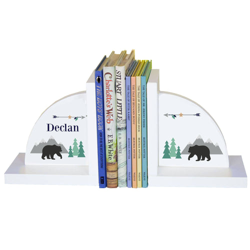 Personalized White Bookends with Mountain Bear design