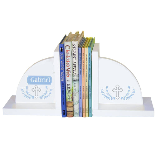Personalized White Bookends with Cross Garland Lt Blue design