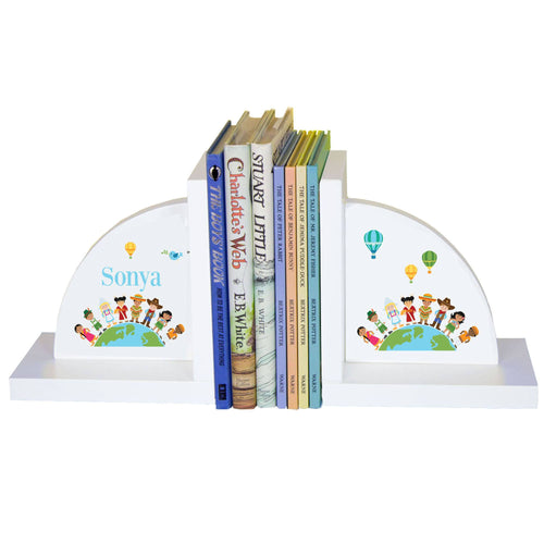 Personalized White Bookends with Small World design