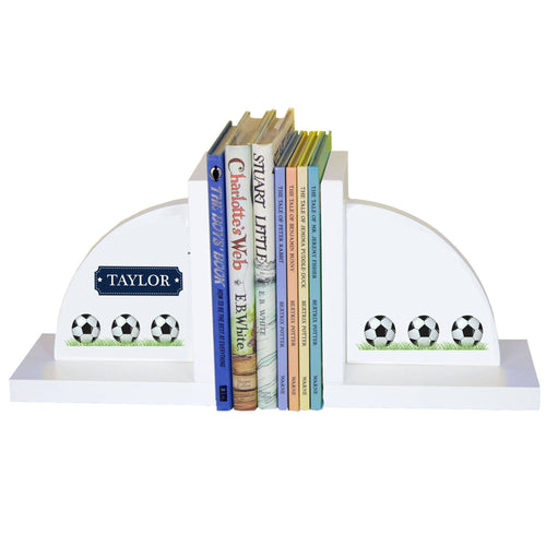Personalized White Bookends with Soccer design