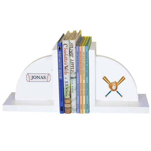 Personalized White Bookends with Baseball design