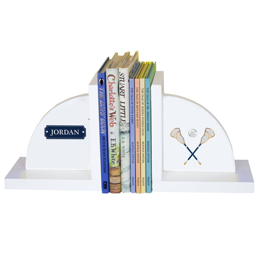 Personalized White Bookends with Lacrosse design