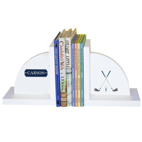 Personalized White Bookends with Golf design