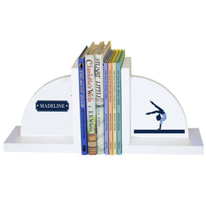 Personalized White Bookends with Gymnastics design
