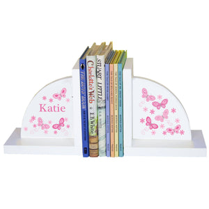 Personalized White Bookends with Butterflies Pink design