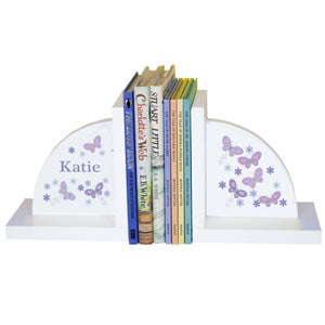Personalized White Bookends with Butterflies Lavender design