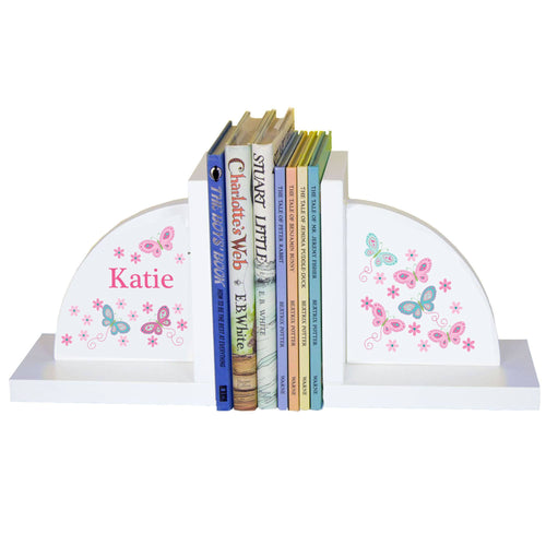 Personalized White Bookends with Butterflies Aqua Pink design