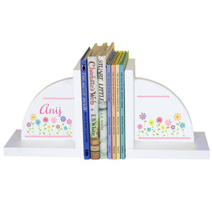 Personalized White Bookends with Stemmed Flowers design