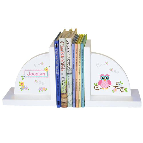 Personalized White Bookends with Pink Owl design