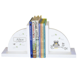 Personalized White Bookends with Gray Owl design