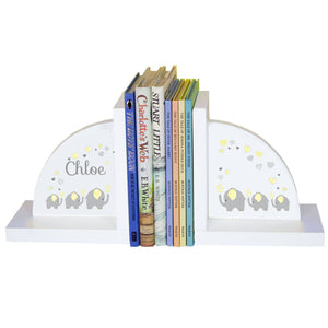 Personalized White Bookends with Yellow Elephants design