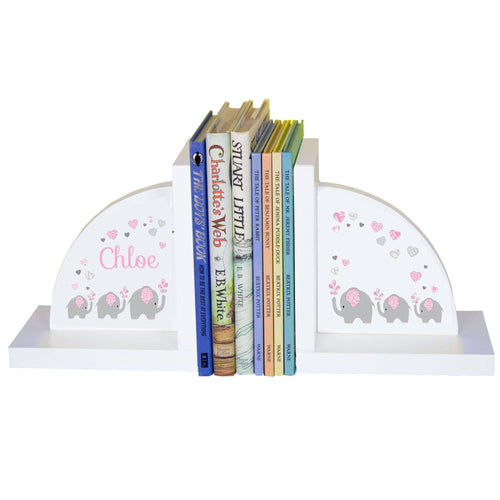 Personalized White Bookends with Pink Elephant design