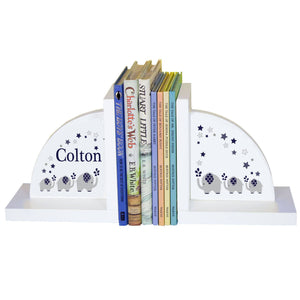 Personalized White Bookends with Navy Elephant design