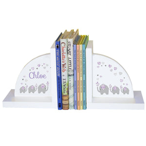 Personalized White Bookends with Lavender Elephant design