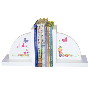 Personalized White Bookends with Bright Butterflies Garland design