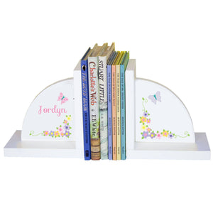 Personalized White Bookends with Pastel Butterflies design